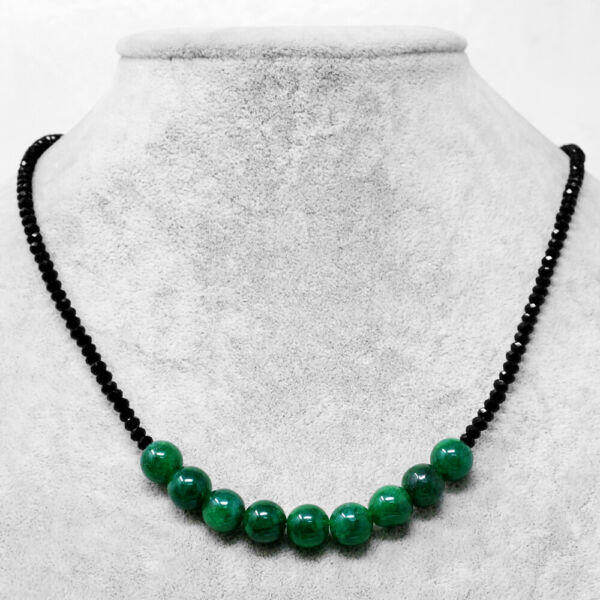 75.00 Cts Earth Mined Emerald & Black Spinel Faceted Beads Necklace NK 39E60