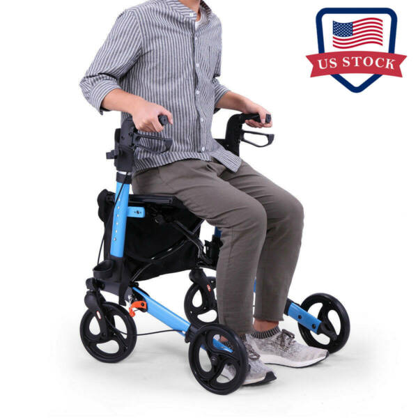 Medical Rollator Walker Foldable Compact Rolling Walker Mobility with Soft Seat