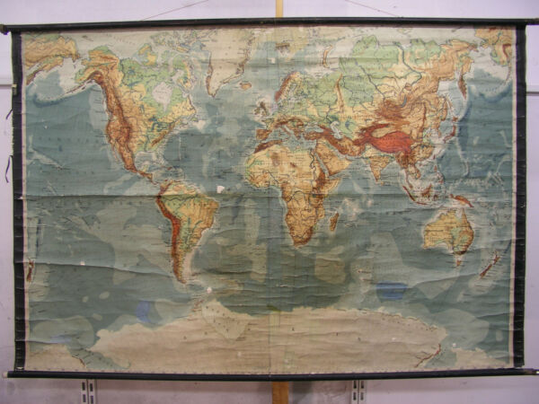Wall Map Physical World Map Earth Germany~1935 Produced 212x140 Vintage