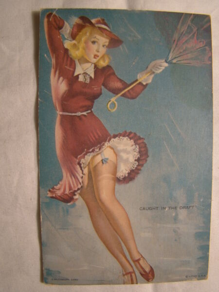 Mutoscope Card 1942 Yankee Doodle Girls Caught in the Draft Pin Up Arcade Vtg