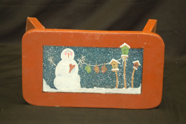 Vintage Style Wooden Snowman Scene Red Christmas Stool Rustic Holiday Decor