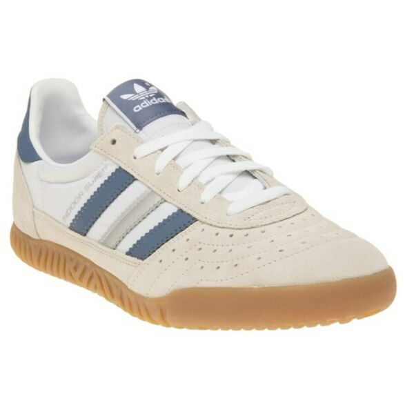 New MENS ADIDAS WHITE NATURAL INDOOR SUPER SUEDE Sneakers Retro