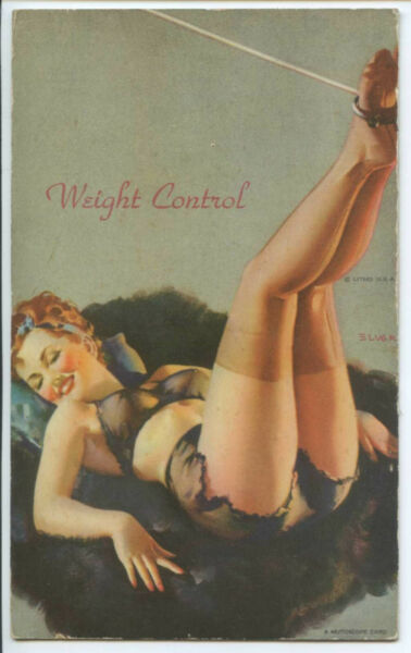 Mutoscope - Yankee Doodle Girl - ELVGREN - Pinup ~ WEIGHT CONTROL -  2 cards