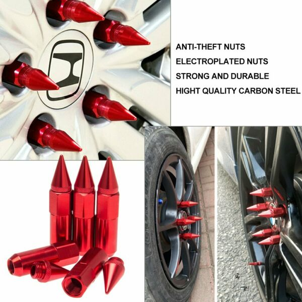 20X Red M12X1.5 JDM Extended Tuner Aluminum 60mm Wheels Rims Lug Nuts with Spike
