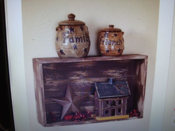 NEW Distressed Country Wood Crate Wall Display Shelves Brown