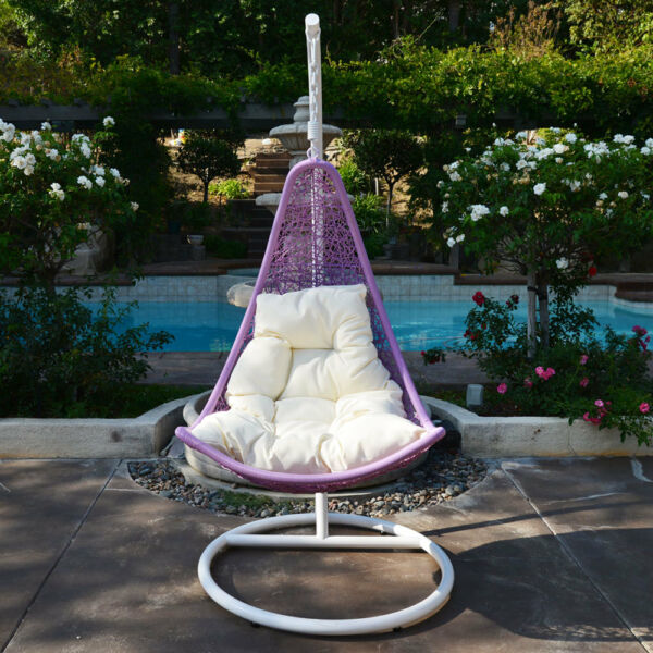 Egg Shape Wicker Rattan Swing Bed Chair Weaving Hanging Hammock- LavenderKhaki