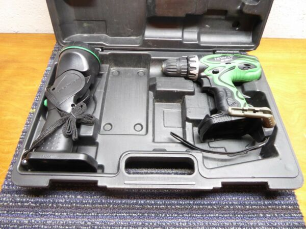 Hitachi Cordless Drill Driver DS 14DVF3 14.4V and light UB 18D + Case Excellent!