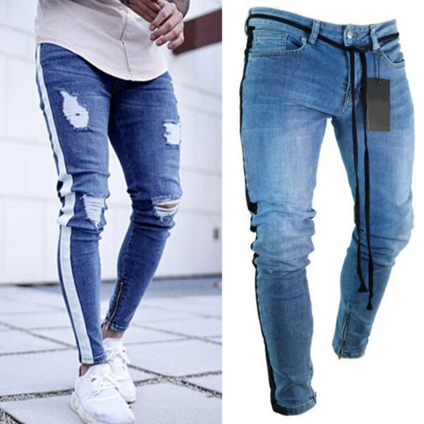 Men Skinny Jeans Destroyed Ripped Stretch Denim Slim Pants Biker Frayed Trousers