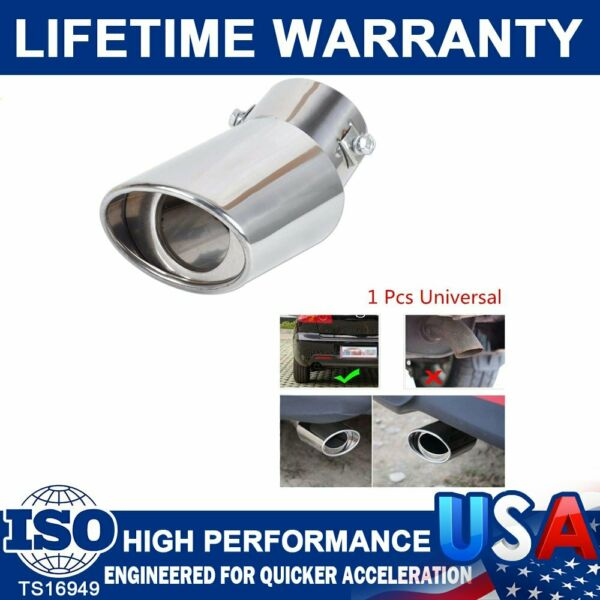 Car Universal Chrome Stainless Steel Rear Round Exhaust Pipe Tail Muffler Tip US