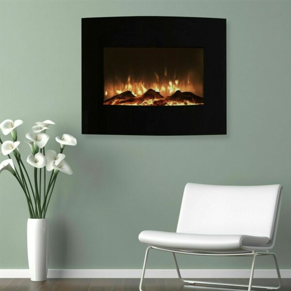 Small Curved Black Fireplace Wall Mount amp; Floor Stand 25 x 20 Inches Remote