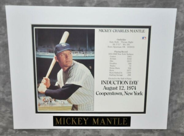 Mickey Mantle Matted Photo w Name Plate New York Yankees Great 11
