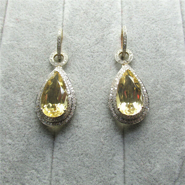 Pear 10x18mm Solid 14K Yellow Gold Diamond Citrine Engagement Earrings