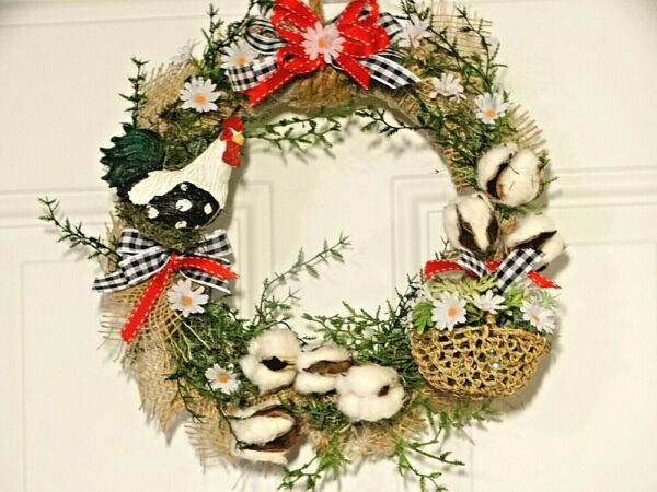 Country Farmhouse Rooster Wreath Summer Burlap Door Wall Hanging (See Size) 13