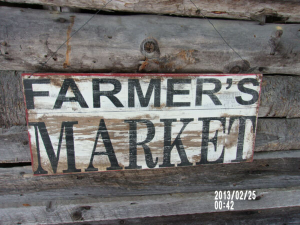 **FARMERS MARKET**PRIMITIVE*RUSTIC*FARM DECOR*ADVERTISING SIGN*COUNTRY*PRODUCE
