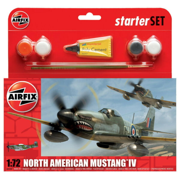 Airfix North American P-51 Mustang IV W Glue Paints & Brush 1:72 Model A55107