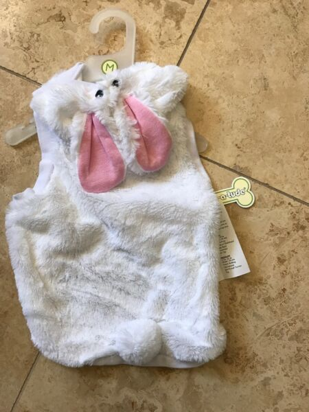 WAG A TUDE.White Faux Fur quot;BUNNY RABBITquot; Hoodie Costume puppy dog medium $16.50