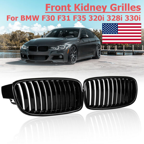 Gloss Black Front Kidney Grilles Grill For BMW F30 F31 F35 328i 335i 2012-2017