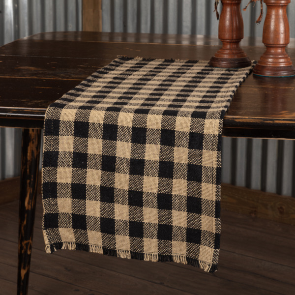 Burlap BLACK TAN CHECK Table Runner 13quot; x 48quot; Country Primitive Farmhouse Rustic
