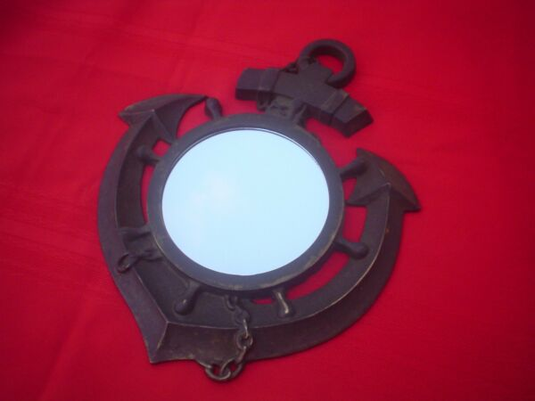 Vintage Nautical Brass Anchor Ship's Wheel Hanging Mirror Decorative Display