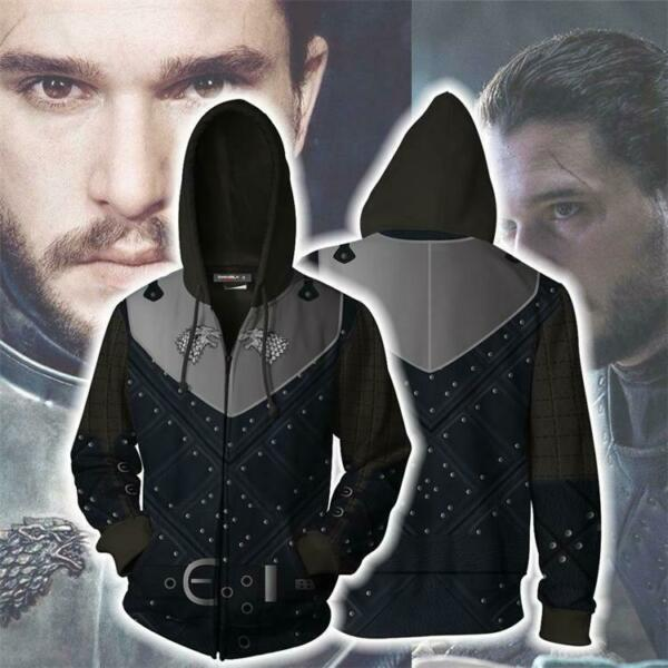 Game Of Thrones John Snow Hoodie Cosplay Costume Sweatshirt Hooded Coat Jacket