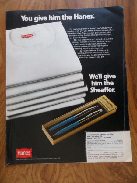 1971 Hanes Underwear Ad You Give Him Hanes We#x27;ll Give him the Sheaffer Pen Set