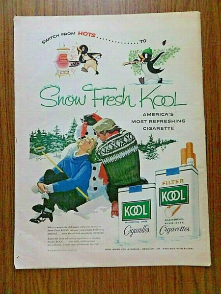 1958 Kool Cigarettes Ad Couple Snow Building a Snowman