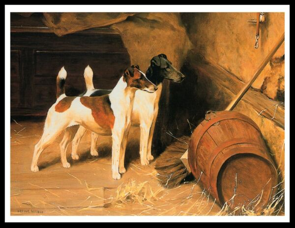 SMOOTH FOX TERRIER TWO DOGS LOVELY VINTAGE STYLE DOG ART PRINT POSTER