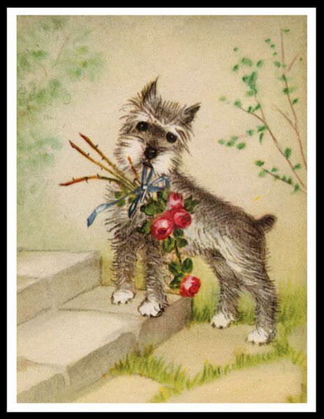 SCHNAUZER LITTLE DOG WITH FLOWERS LOVELY VINTAGE STYLE DOG ART PRINT POSTER