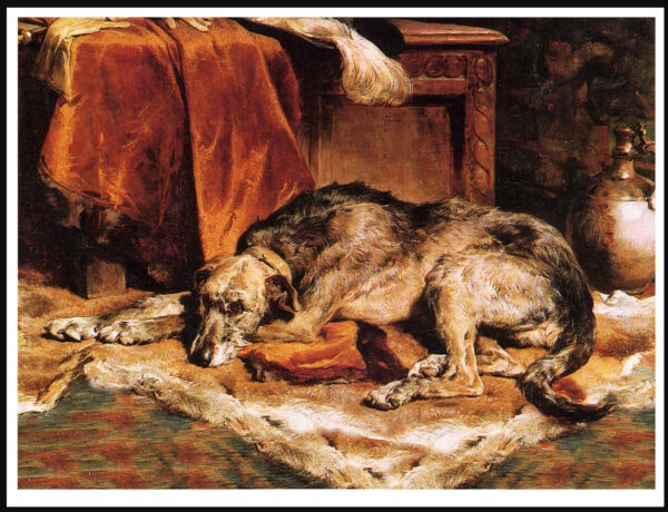 IRISH WOLFHOUND DOG AT REST LOVELY CLASSIC VINTAGE STYLE DOG ART PRINT POSTER