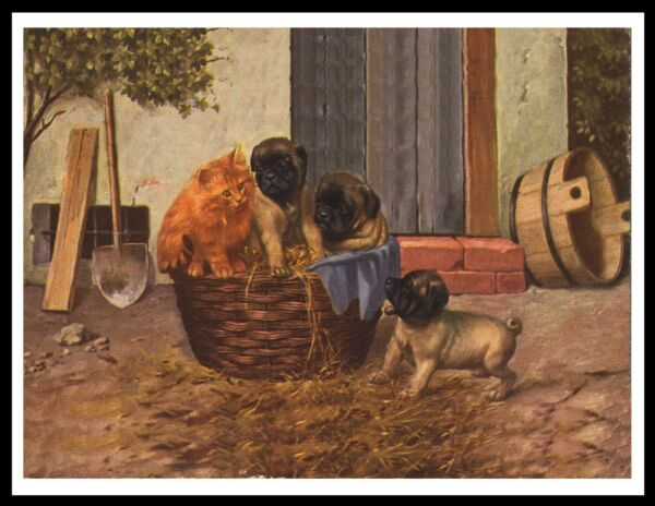 PUG PUPS AND GINGER CAT LOVELY VINTAGE STYLE DOG ART PRINT POSTER