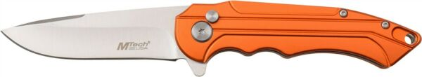 Mtech MT-1022OR Orange Aluminum Assisted Straight Stainless Folding Pocket Knife