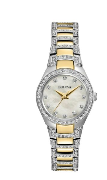 Bulova Women's Quartz Crystal Accents Mother of Pearl Dial 24.5mm Watch 98L198