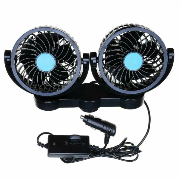 Zone Tech 12V Dual Head Car Cooling Oscillating Back Seat Ventilation Air Fan