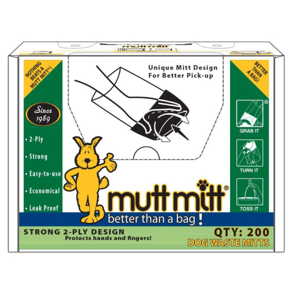 Mutt Mitt Dog Waste Pick Up Bag Thick 2 ply 200 Count Made in USA $53.22