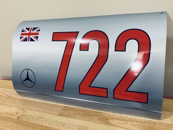 WOW Curved Mercedes Stirling Moss Race Car 300SLR Fender Style Sign $59.00