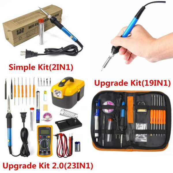 Electric Soldering Iron Gun Tool Kit 110V 60W Welding Desoldering Pump Tool Set