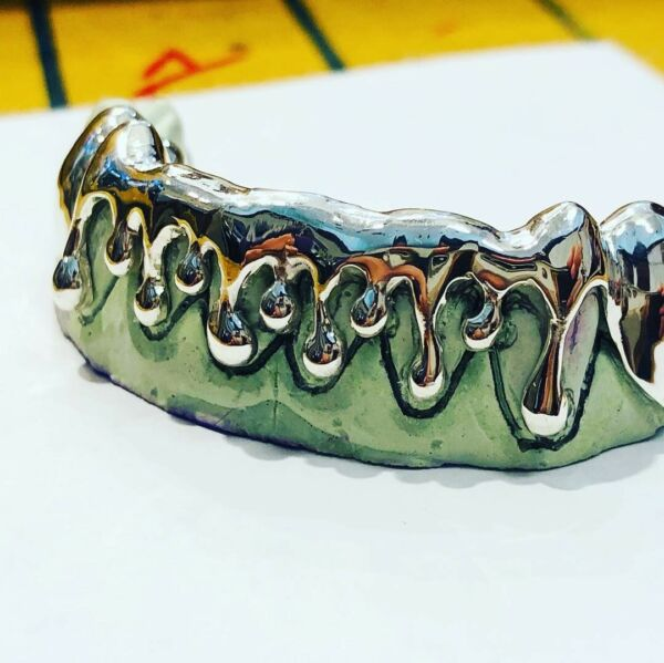 925 Solid Sterling Silver Drip Dripping Style Grill Grillz