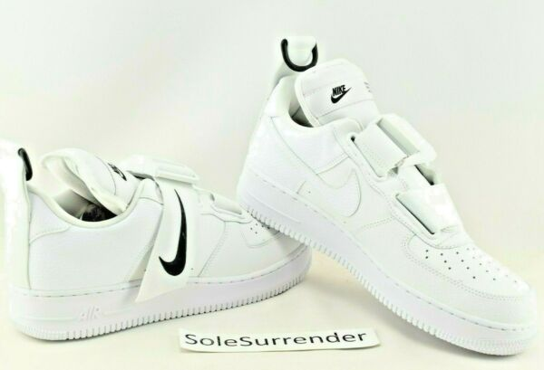 Nike Air Force 1 Utility - SIZE 10.5 - NEW - AO1531-101 White Black One QS Strap