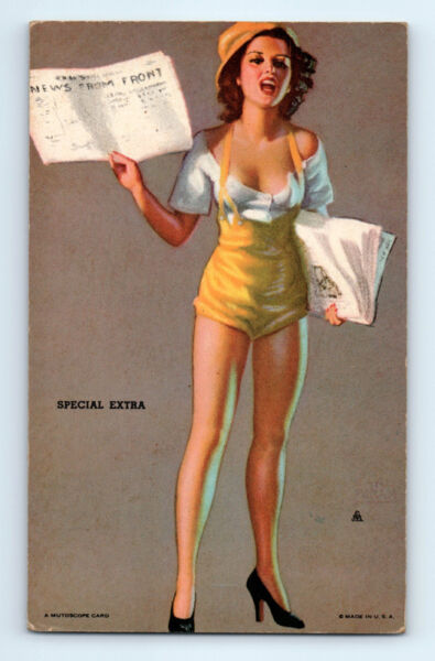 WW2 Vintage 1940-1945 EARL MORAN Special Extra PIN-UP Risque MUTOSCOPE CARD