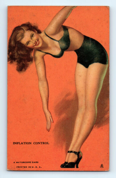 WW2 Vintage 1940-1945 EARL MORAN Inflation Control PIN-UP Risque MUTOSCOPE CARD