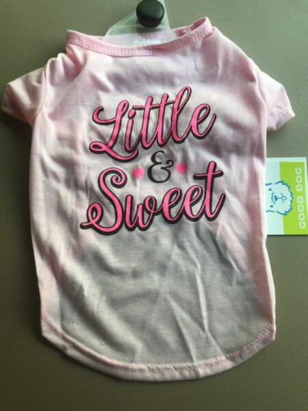SIMPLY WAG Pink quot;LITTLE amp; SWEETquot; T shirt Puppy Dog medium $14.50