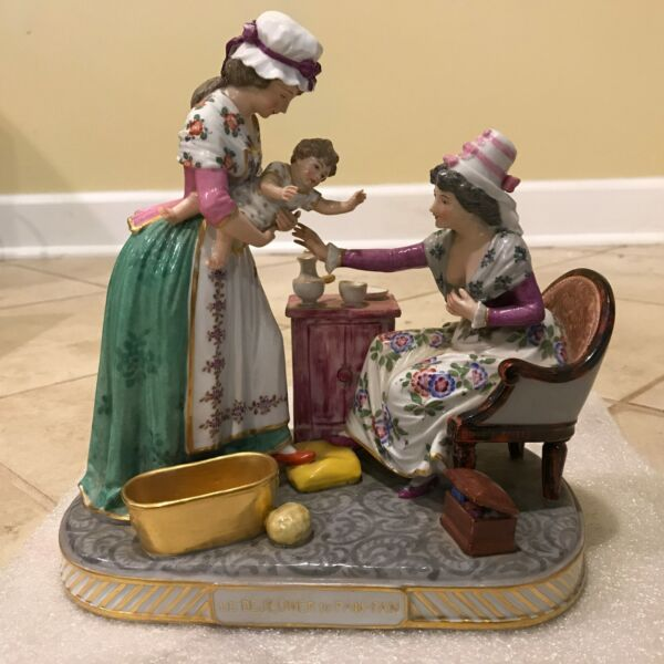 Antique Vincent Dubois French Porcelain Figural Group -Women Playing with a Baby