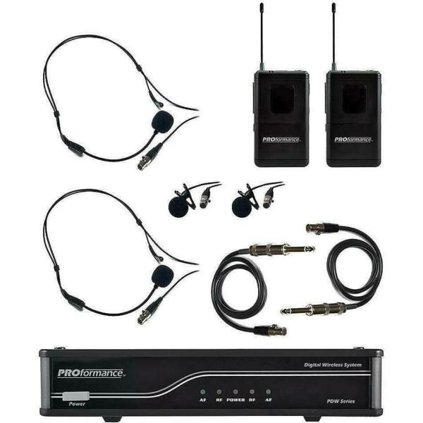 PROformance PDWLH Dual Channel Wireless Mic & Guitar System