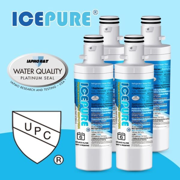 Compatible With  LG LT1000P ADQ747935 MDJ64844601  Icepure Water Filter 4 PACK