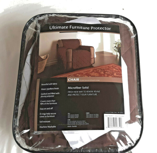 ULTIMATE Furniture Protector 98x109 Chocolate Brown Microfiber Chair Quilted NIP $29.95