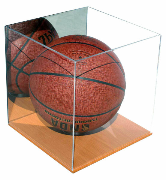 Acrylic Full Size Basketball Display Case Stand with Wood Floor and Mirror