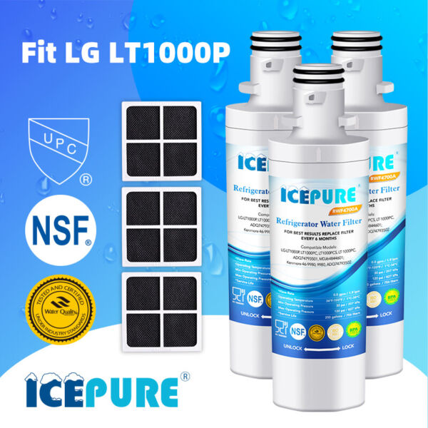 13 PCS Water Filter Compatible With LG LT1000P LT120F 469918 Icepure Air Filter