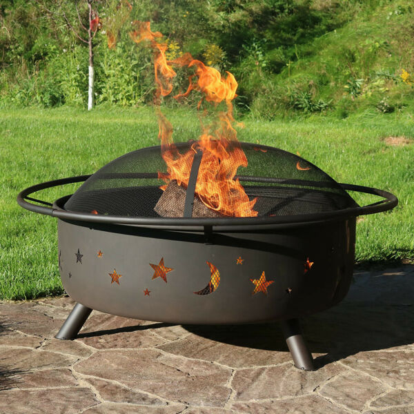Sunnydaze 42quot; Fire Pit Steel Cosmic Design with Spark Screen and Firewood Poker