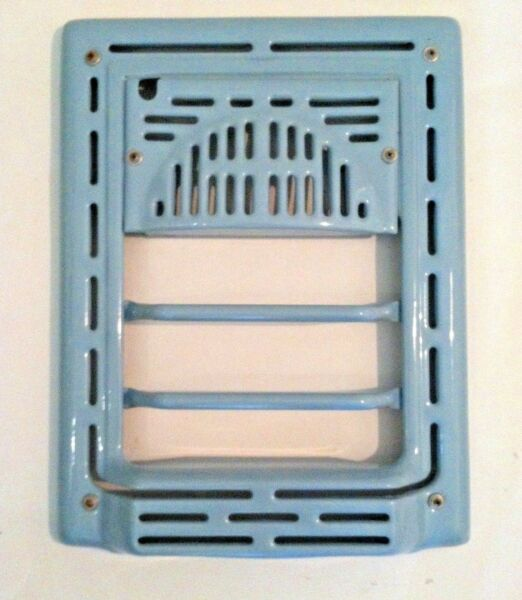 Vintage Wall Heater Grate Cover Metal Porcelain Finish Blue Wall Mount Grill