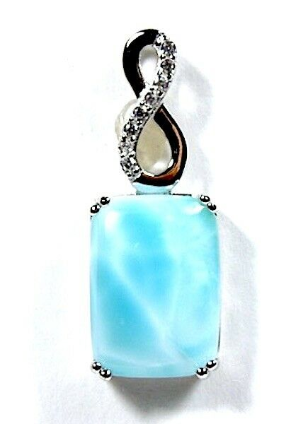 Genuine AAA Dominican Larimar 925 Sterling Silver Pendant